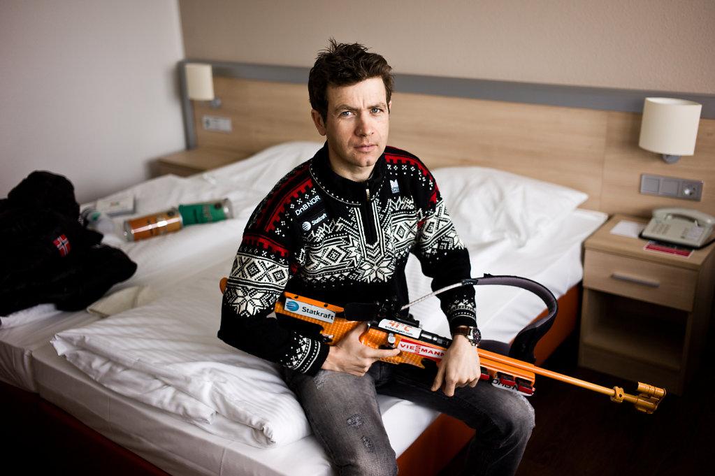 Ole Einar Bjoerndalen, biathlete. For FOCUS magazine.