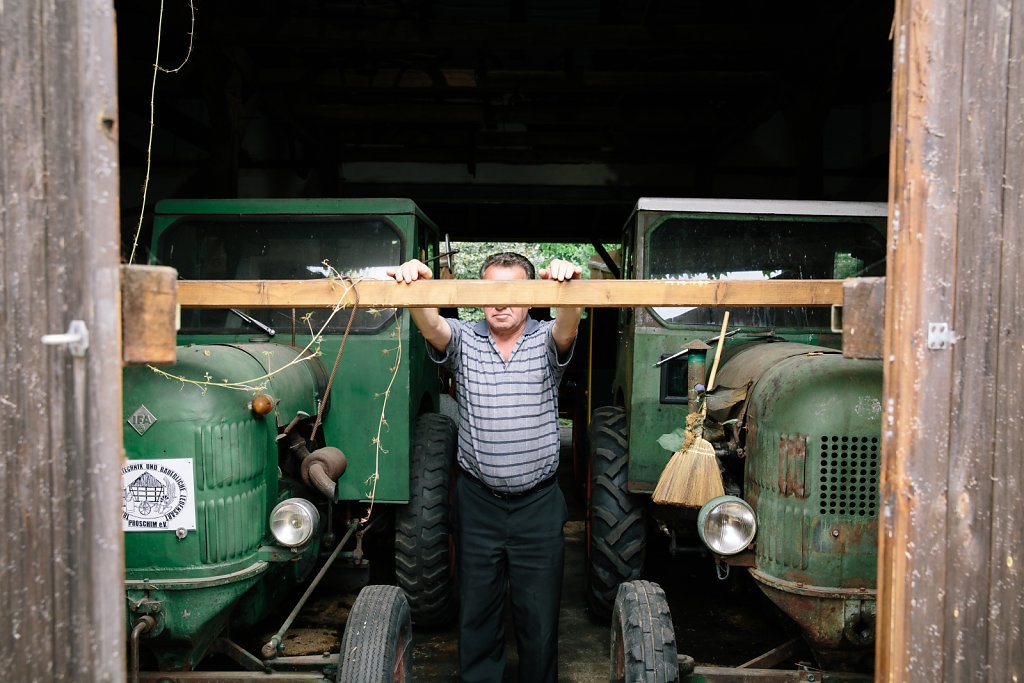 Erhard Lehmann with tractor collection.